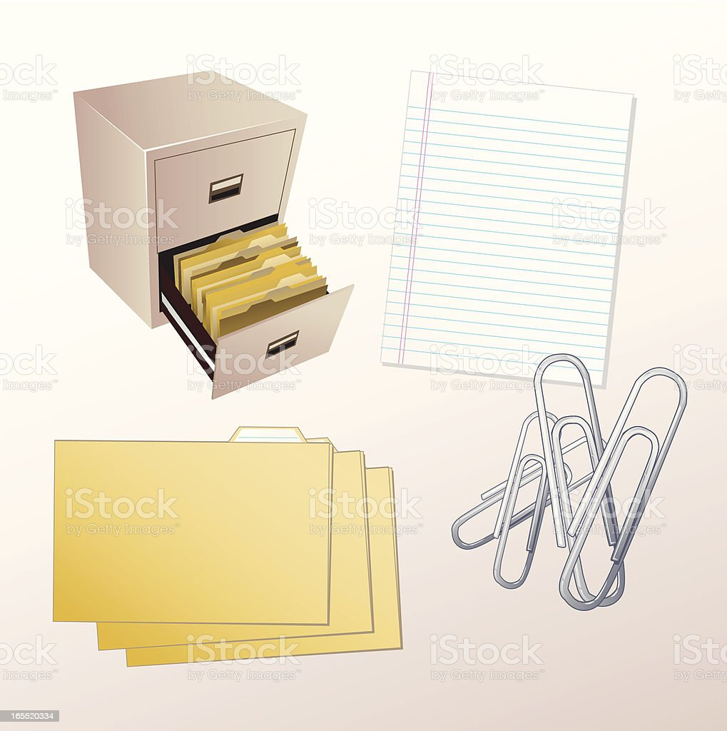 Vector File Cabinet and Office Supplies royalty-free stock vector art