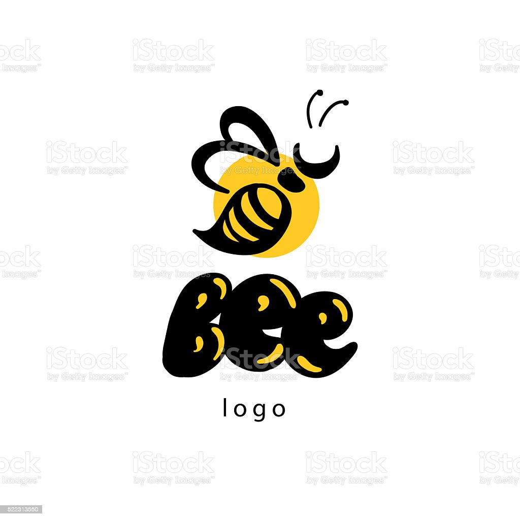 Vector flat honey logo. stock photo