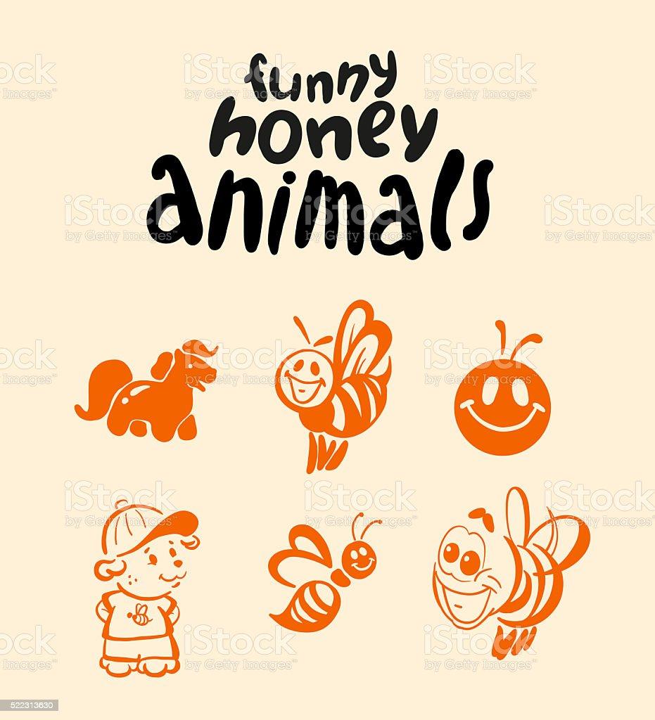 Vector flat honey logo. stock photo