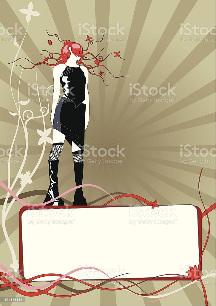 Vector floral frame with girl royalty-free stock vector art
