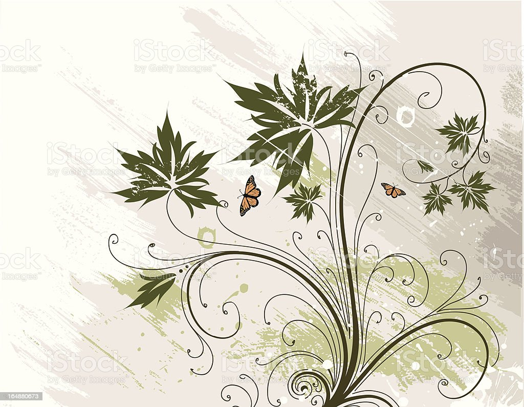 Vector flower on a grunge background royalty-free stock vector art