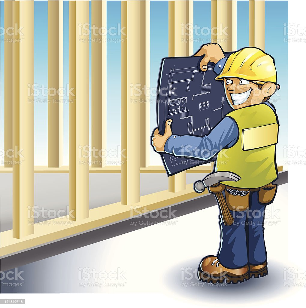 Vector Foreman, happy and confident royalty-free stock vector art