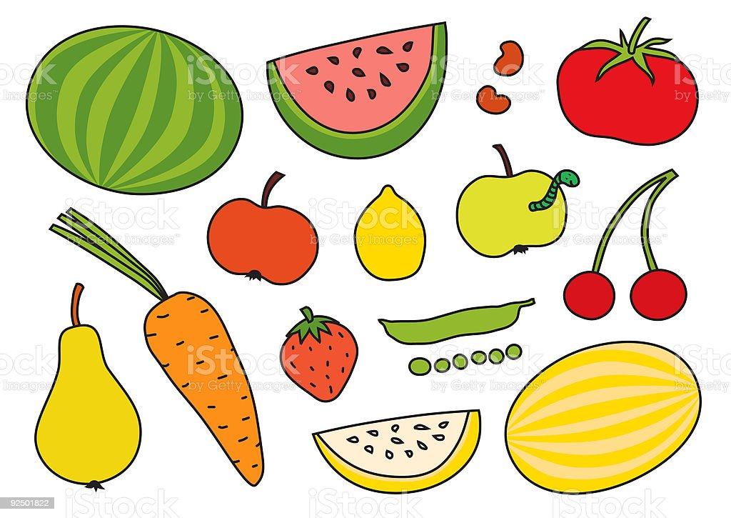 vector fruits and vegetables vector art illustration