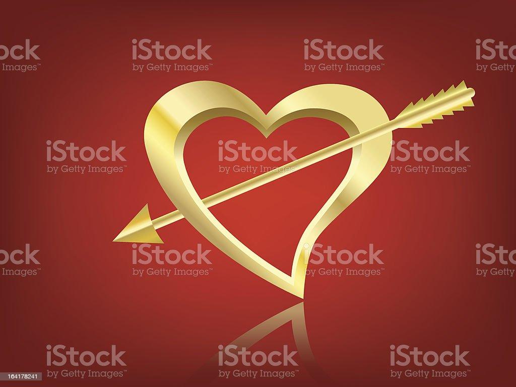 Vector gilded heart and arrow royalty-free stock vector art