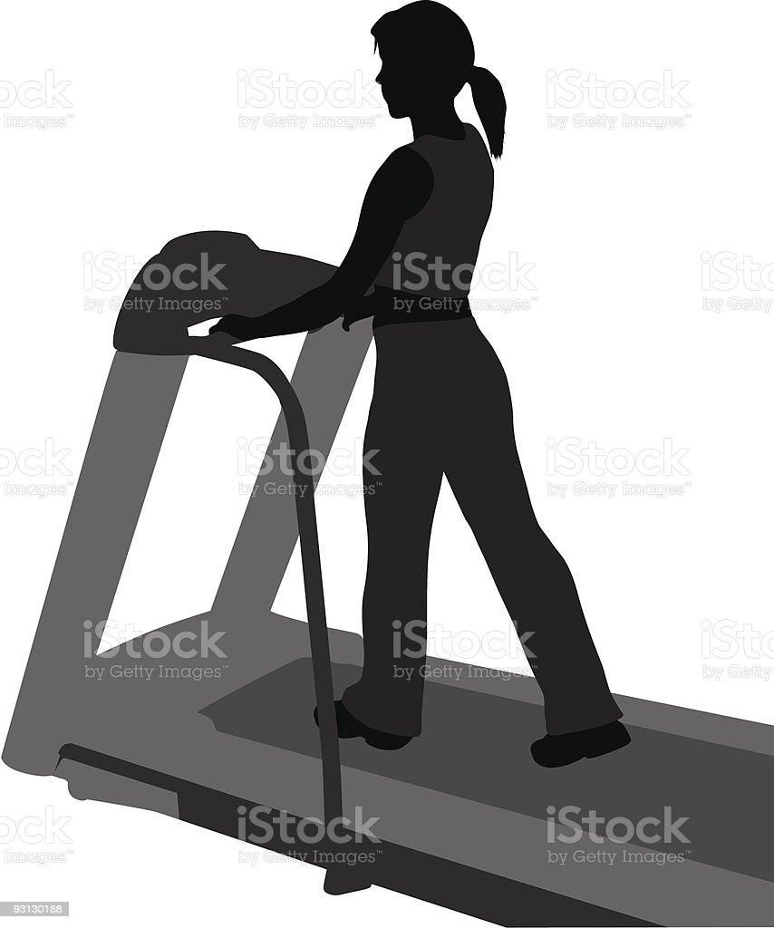 vector girl on step mashine vector art illustration
