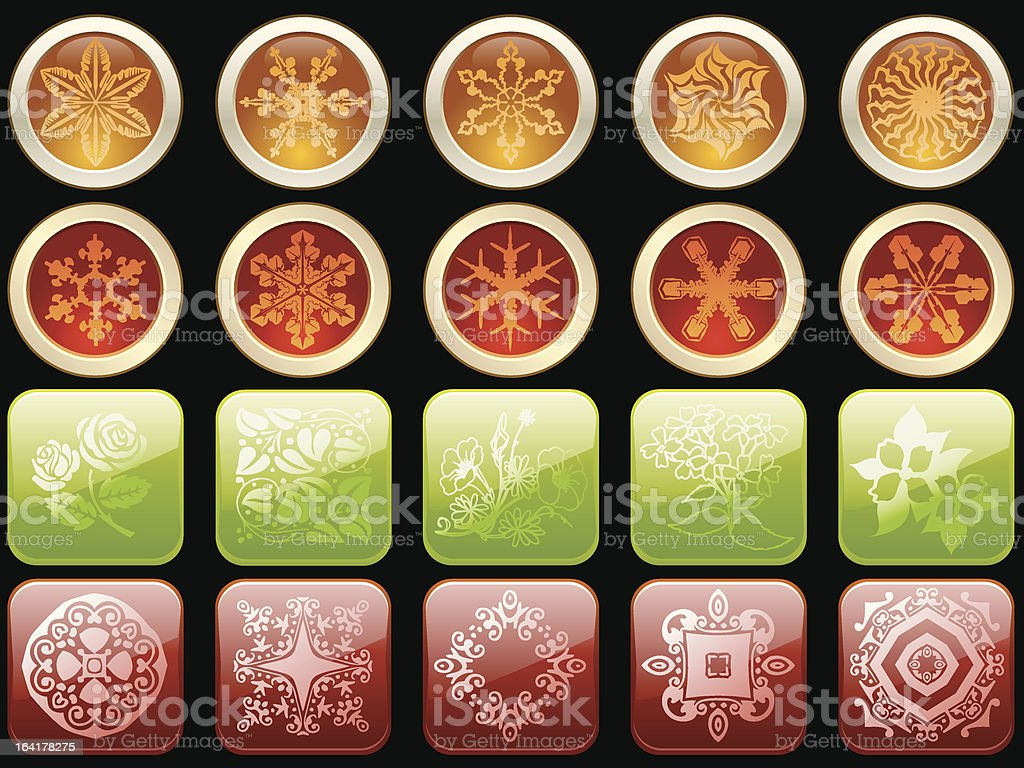 Vector glassy icons with floral pattern royalty-free stock vector art