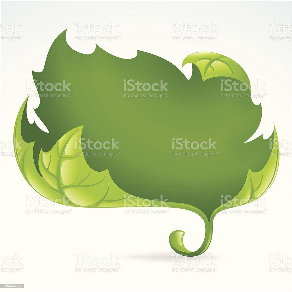 Vector green leaf frame, spring background 2 royalty-free stock vector art