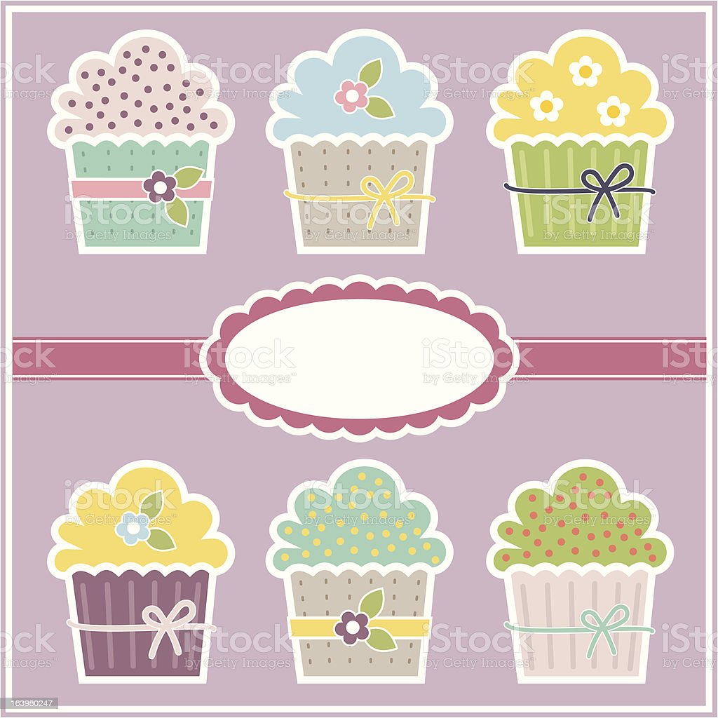 Vector greeting card with cupcakes royalty-free stock vector art