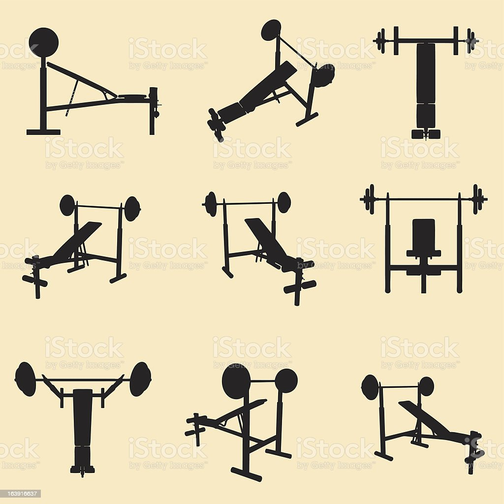 vector gym equipment silhouette set vector art illustration