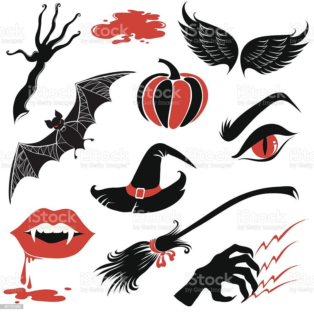 Vector Halloween design elements vector art illustration
