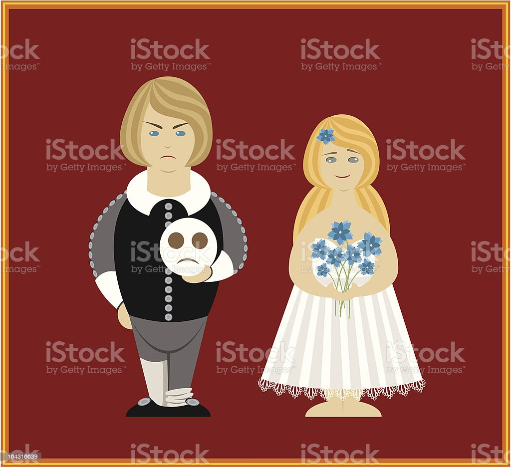 Vector Hamlet and Othelia Dolls royalty-free stock vector art