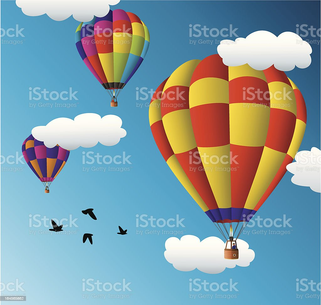 vector hot air balloons in the sky royalty-free stock vector art