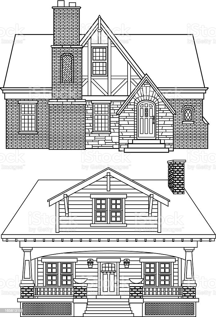 vector house designs vector art illustration