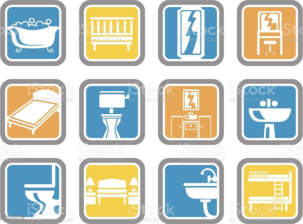 Vector Icons: Furniture vector art illustration