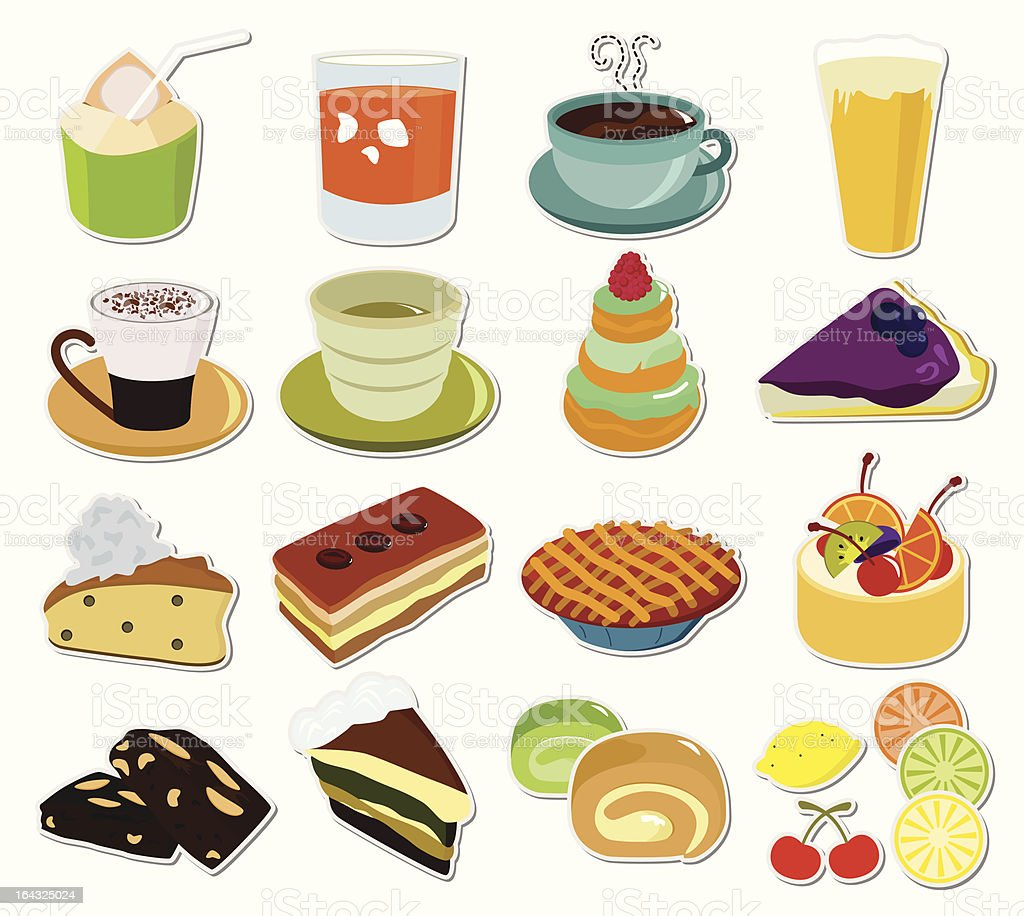 vector Icons: Hot Beverages (Coffee, Tea, Chocolate) & Cake Set#3 vector art illustration
