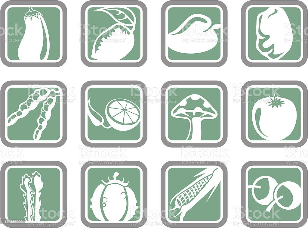 Vector Icons: Vegetables vector art illustration