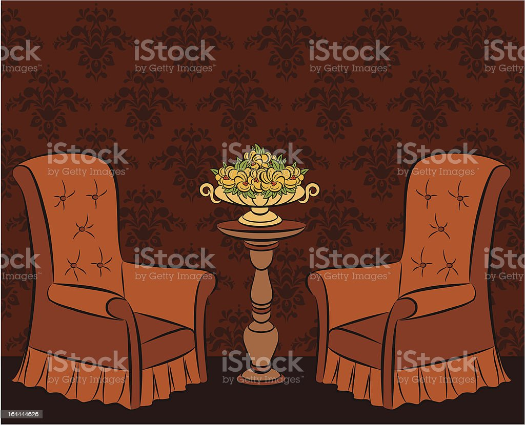 Vector illustration arm-chair in vintage interior royalty-free stock vector art
