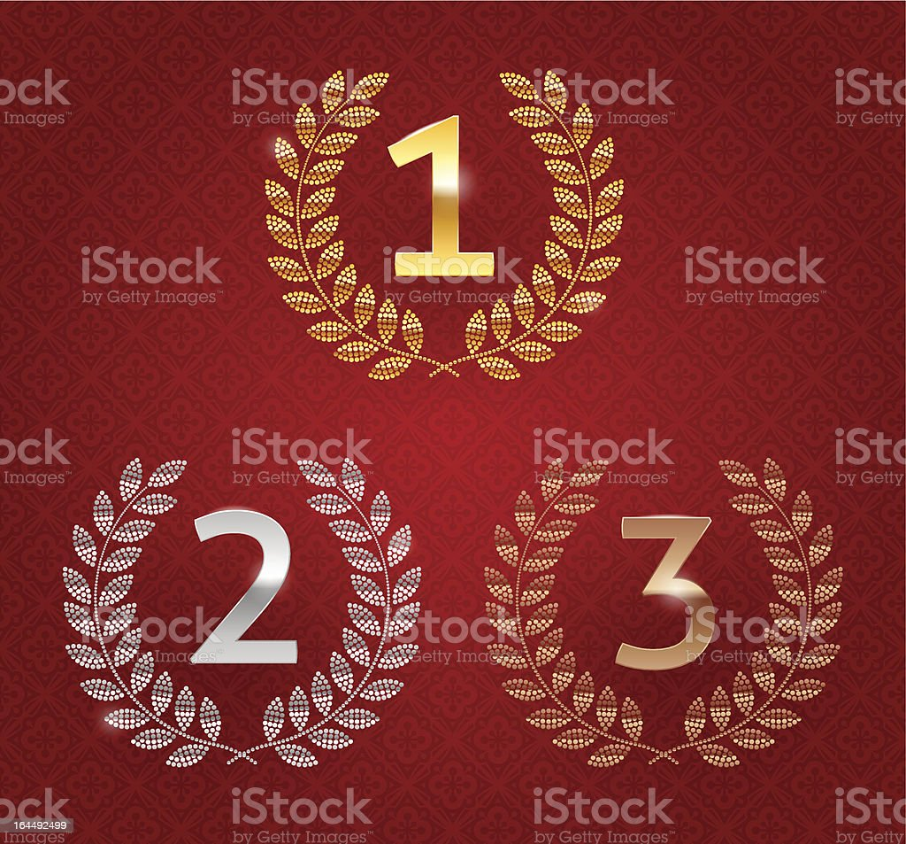 Vector illustration of 1st; 2nd; 3rd awards golden emblems royalty-free stock vector art