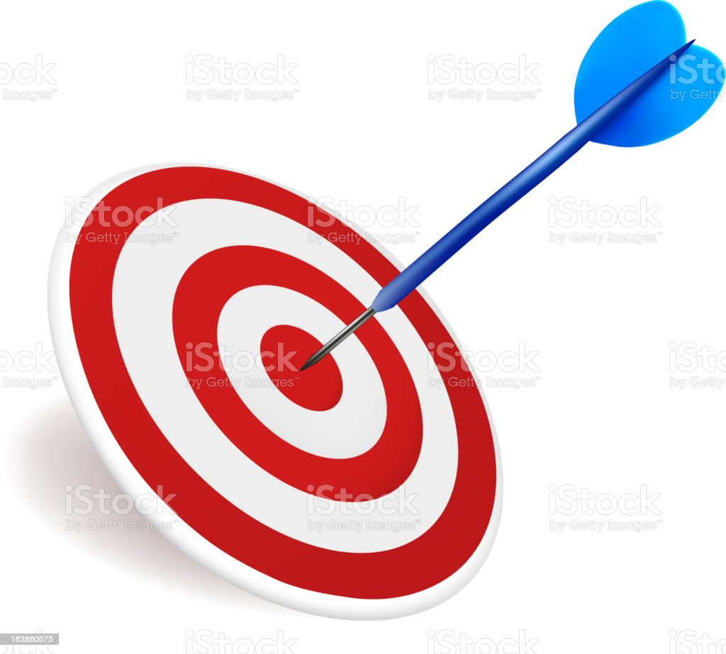 Vector illustration of a dart hitting target. royalty-free stock vector art