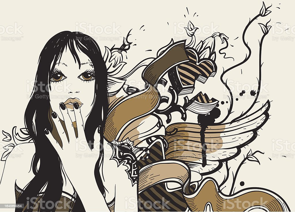 vector illustration of a girl with abstract wings royalty-free stock vector art