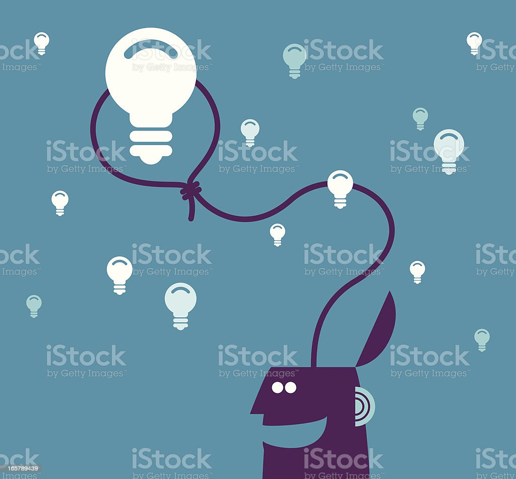 Vector illustration of man roping a light bulb royalty-free stock vector art