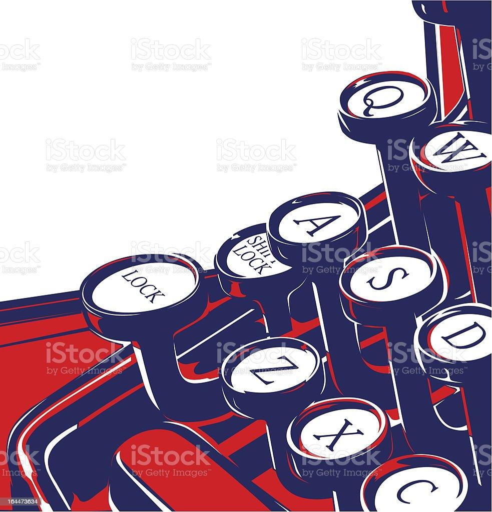 Vector illustration of retro typewriter keyboard vector art illustration