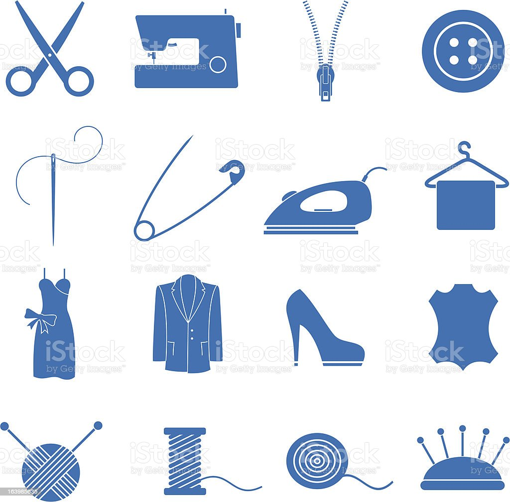 Vector illustrations of sewing-related icons vector art illustration