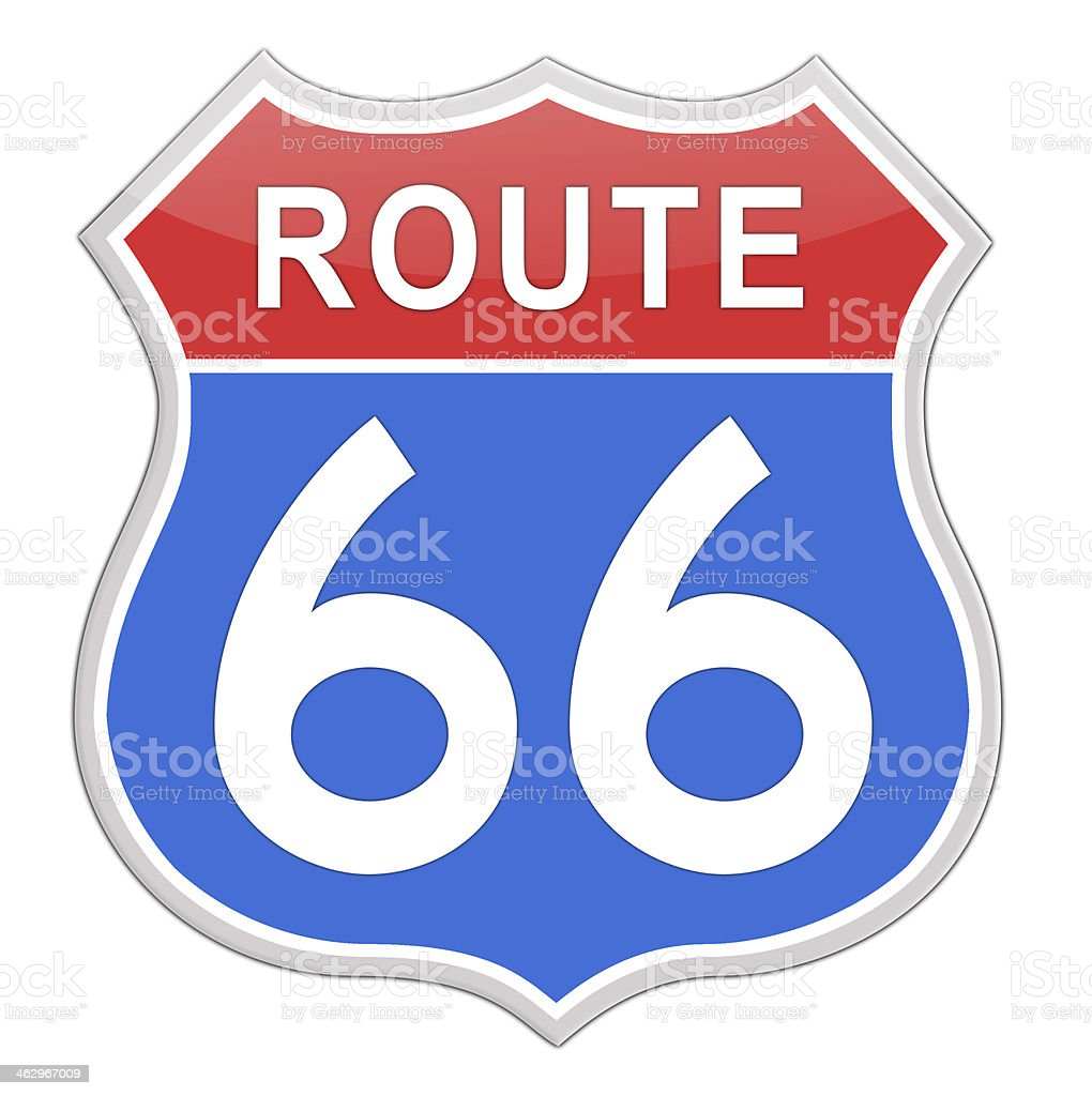 A vector image of the iconic Route 66 road sign vector art illustration
