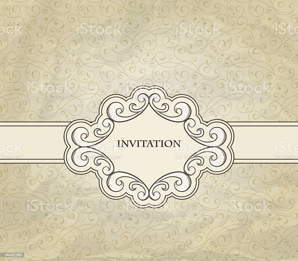 Vector Invitation on Seamless Floral Pattern royalty-free stock vector art