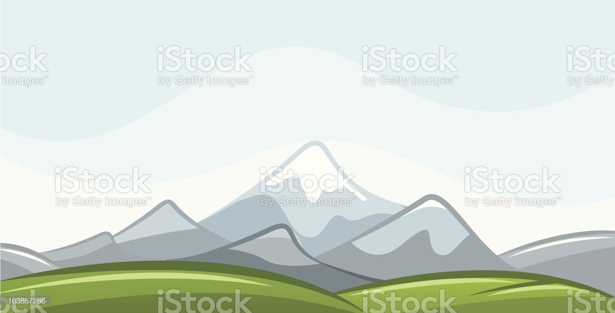 Vector Landscape with Mountains royalty-free stock vector art