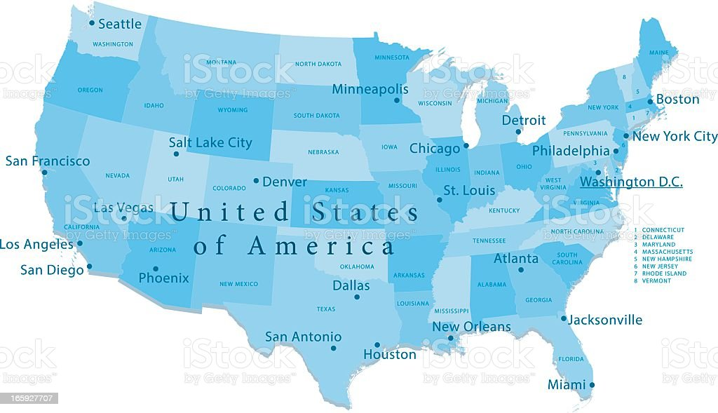 USA Vector Map Regions Isolated royalty-free stock vector art