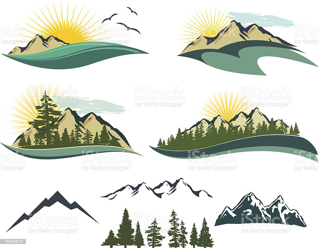 Vector mountain icons stock vector art 164316722 istock Drawing images free download
