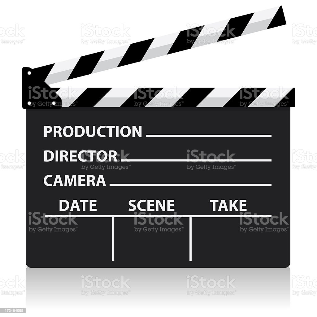 A vector movie director slate on a white background vector art illustration