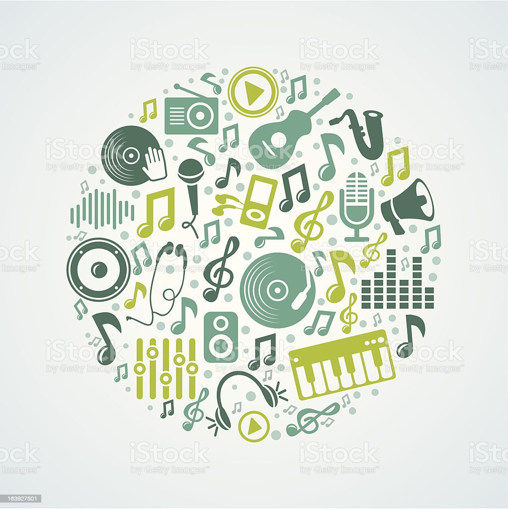 Vector music concept with bright icons and notes royalty-free stock vector art