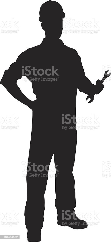 Vector of a handyman holding wrench vector art illustration