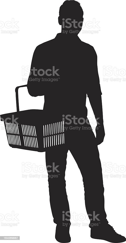 Vector of a man holding shopping basket vector art illustration