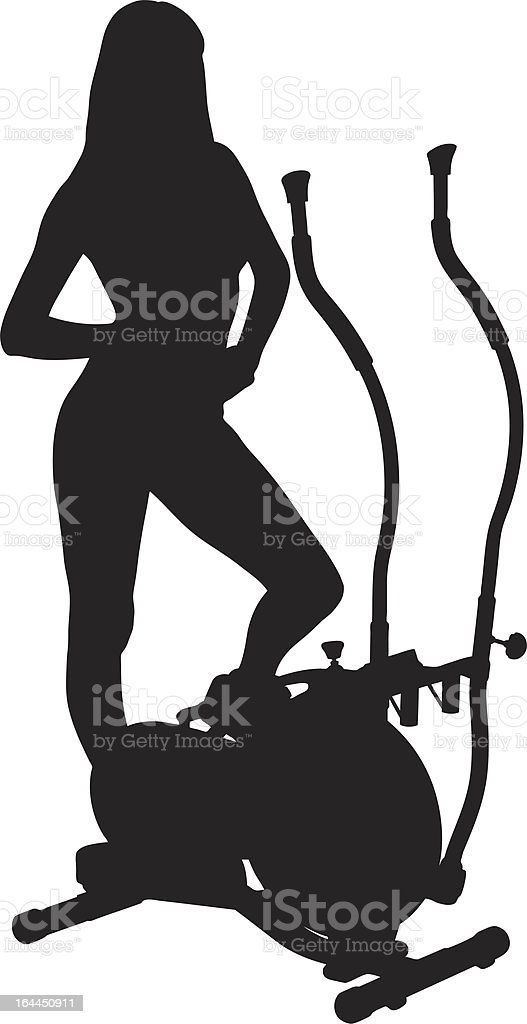 Vector of a woman posing on cross trainer vector art illustration