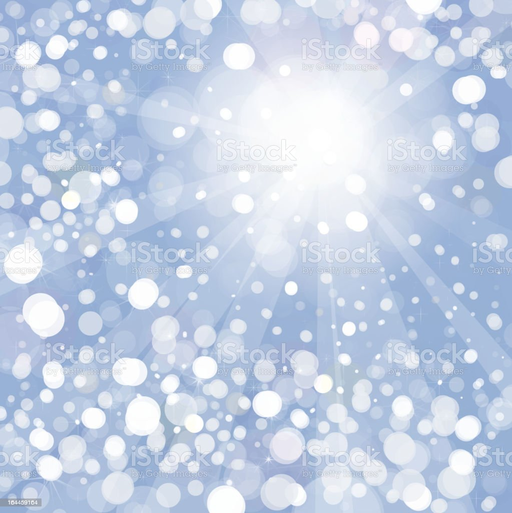 Vector of  snowfall with sunlight  rays on blue sky  background royalty-free stock vector art