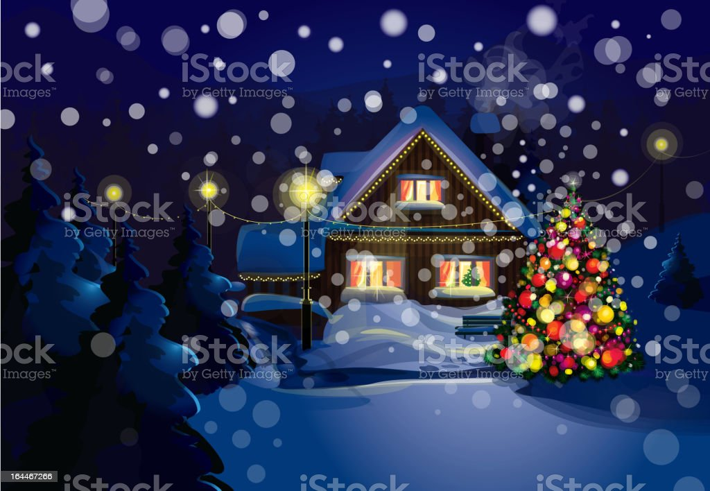 Vector of winter landscape. Merry Christmas! royalty-free stock vector art