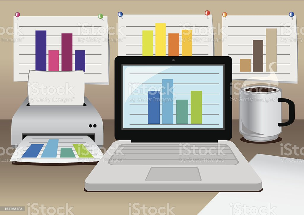 Vector office computer with business diagram royalty-free stock vector art