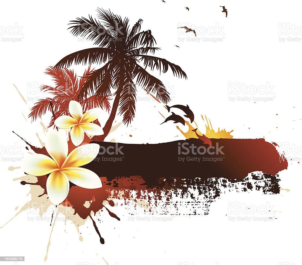 Vector palms, dolphins, plumeria flower royalty-free stock vector art