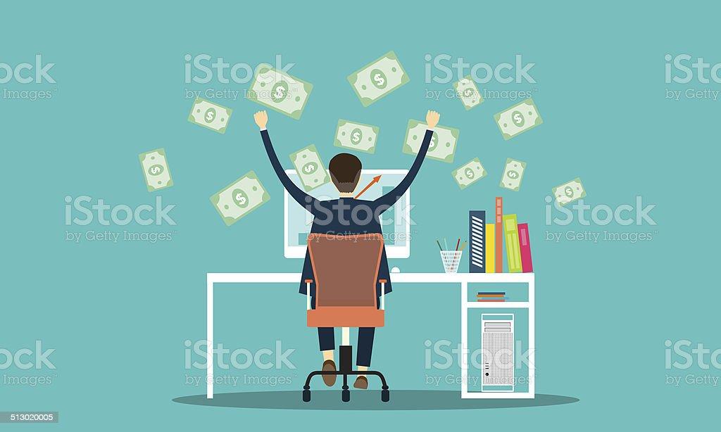 vector people earning business online background vector art illustration