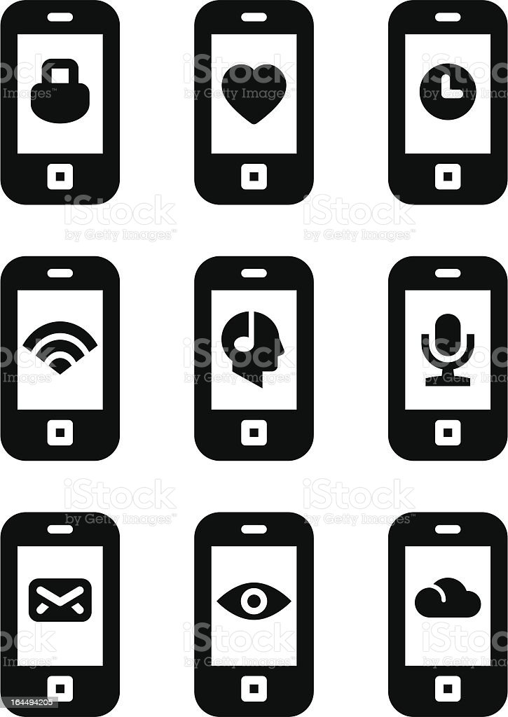 Vector phone with icons royalty-free stock vector art
