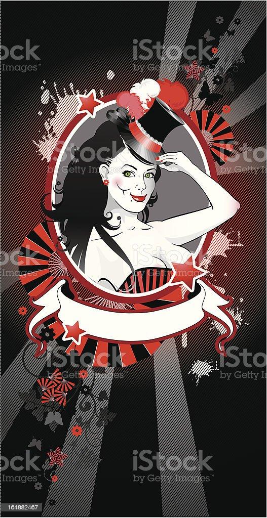 vector portrait of circus actress vector art illustration