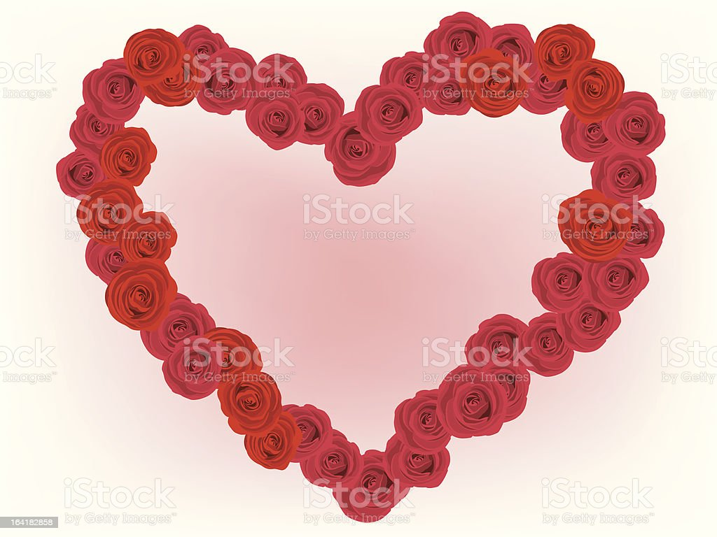 Vector red roses in heart shape royalty-free stock vector art