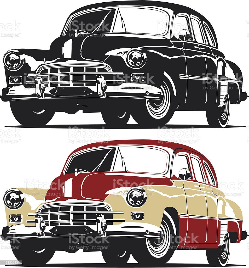 Vector retro limousine vector art illustration