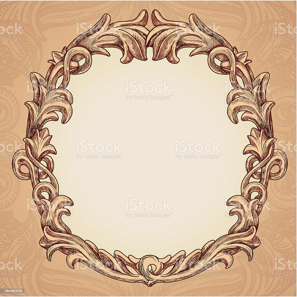 Vector round frame in vintage style royalty-free stock vector art