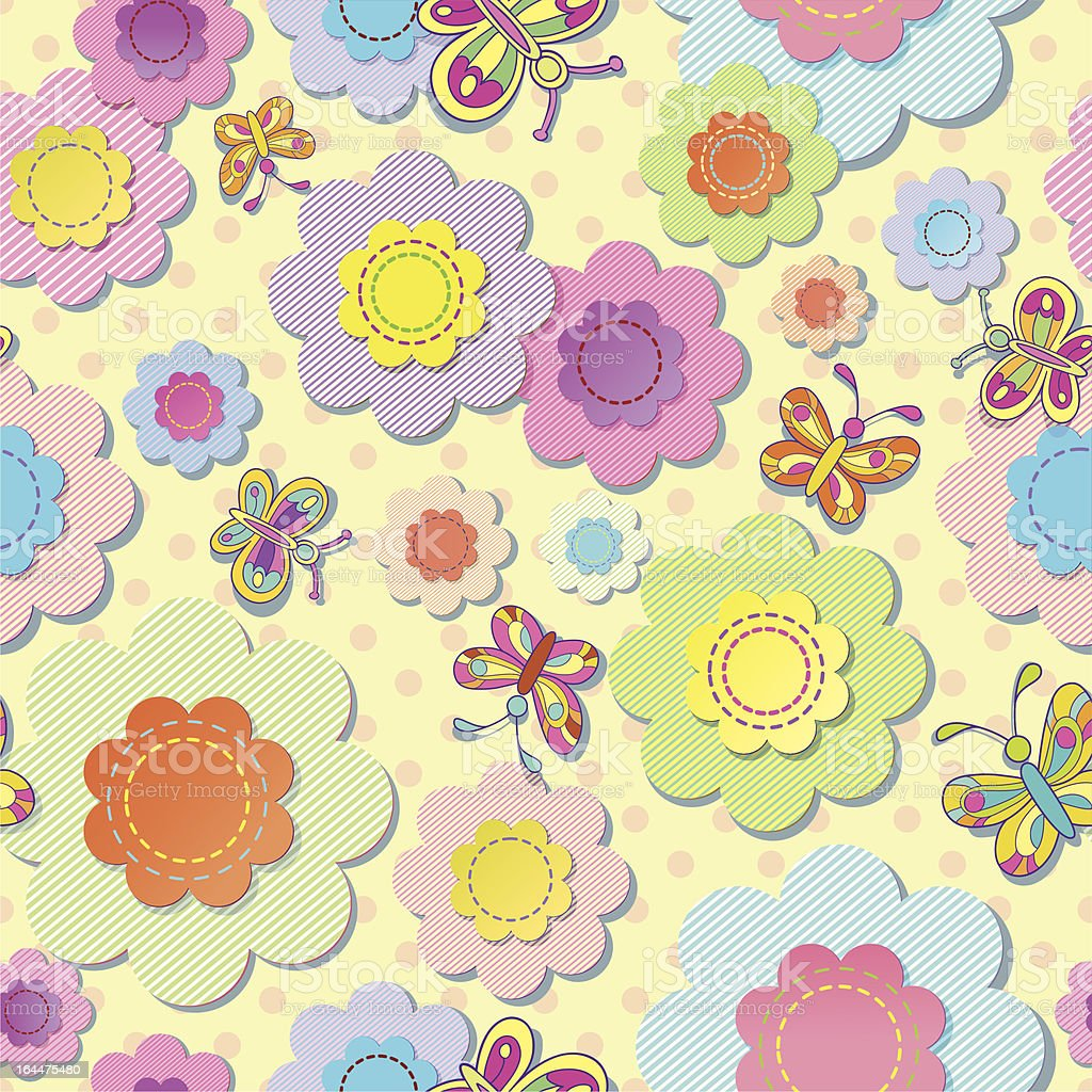 vector seamless colorful background. Application of flowers and butterflies. royalty-free stock vector art