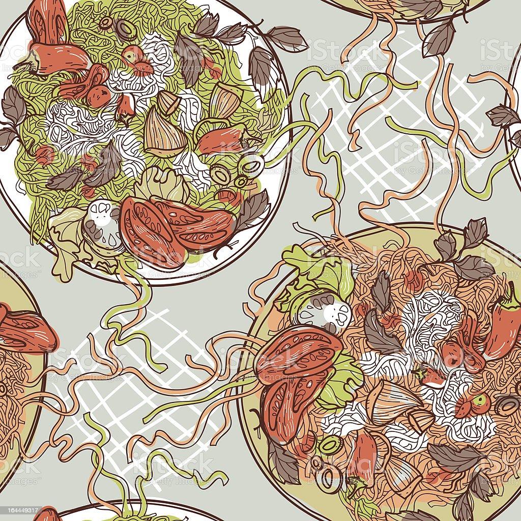 vector seamless pattern with  Italian pasta royalty-free stock vector art
