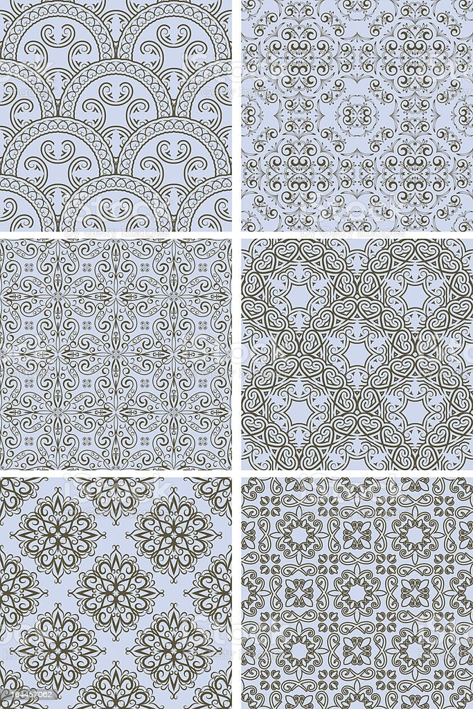 vector seamless patterns in blue and brown royalty-free stock vector art
